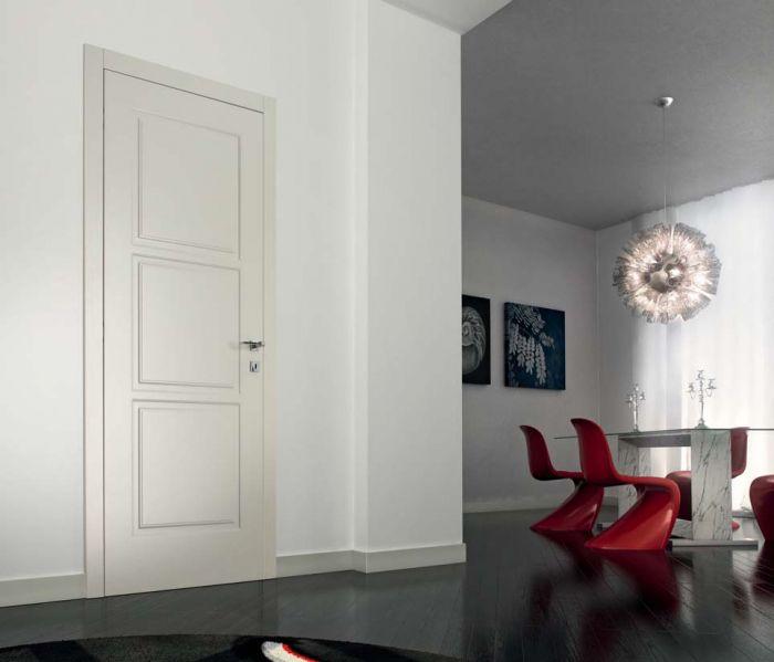 D3Q - Porta classica in legno laccato perla