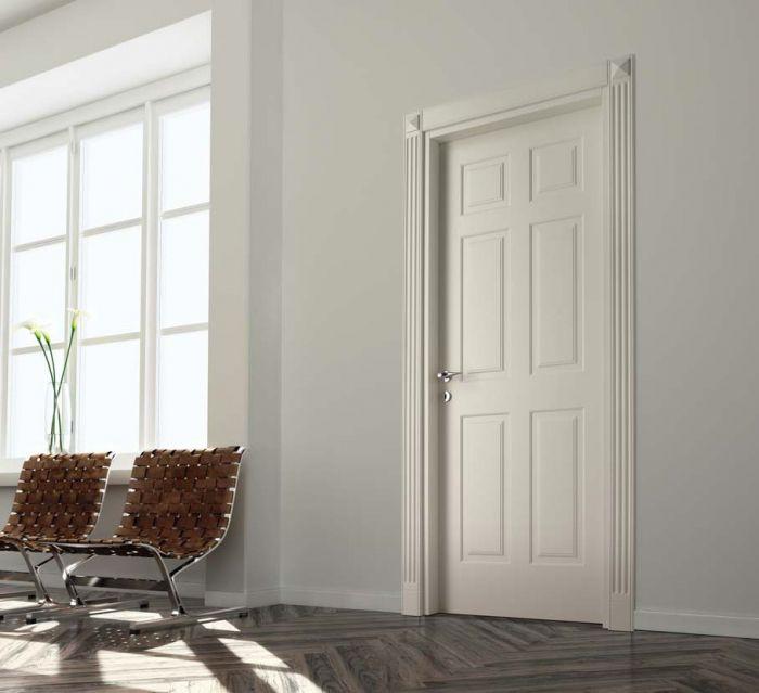 D6K - Porta classica in legno laccato bianco