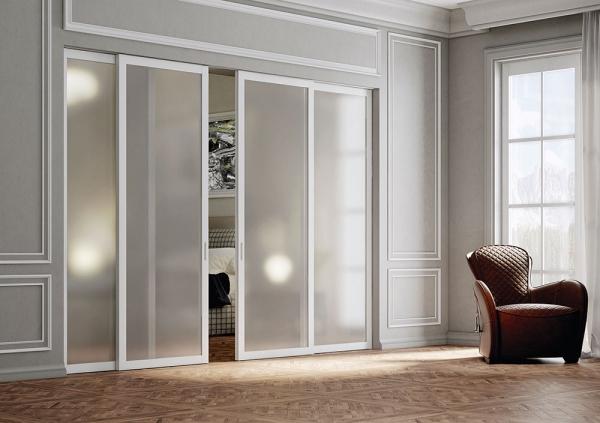 Lite - Porta scorrevole in vetro per interni